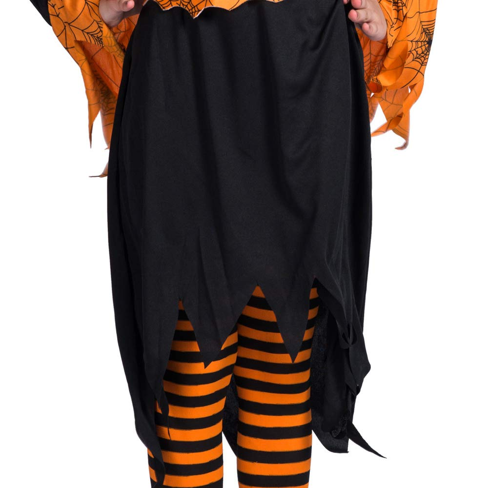 Little Girls Long Sleeve Halloween Pumpkin Witch Dress Up Set Cosplay Outfit L for 12-14 Y by Eraspooky (Image #3)