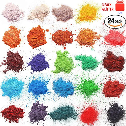 ORAK Mica Powder | Cosmetic Grade | 24 Assorted Colors | Soap Making Colorant | Pigment Powder for Slime | Bath Bomb Supplies | Powdered Pigments Set | Resin Dye | Art, Craft Projects | Make Up Dye