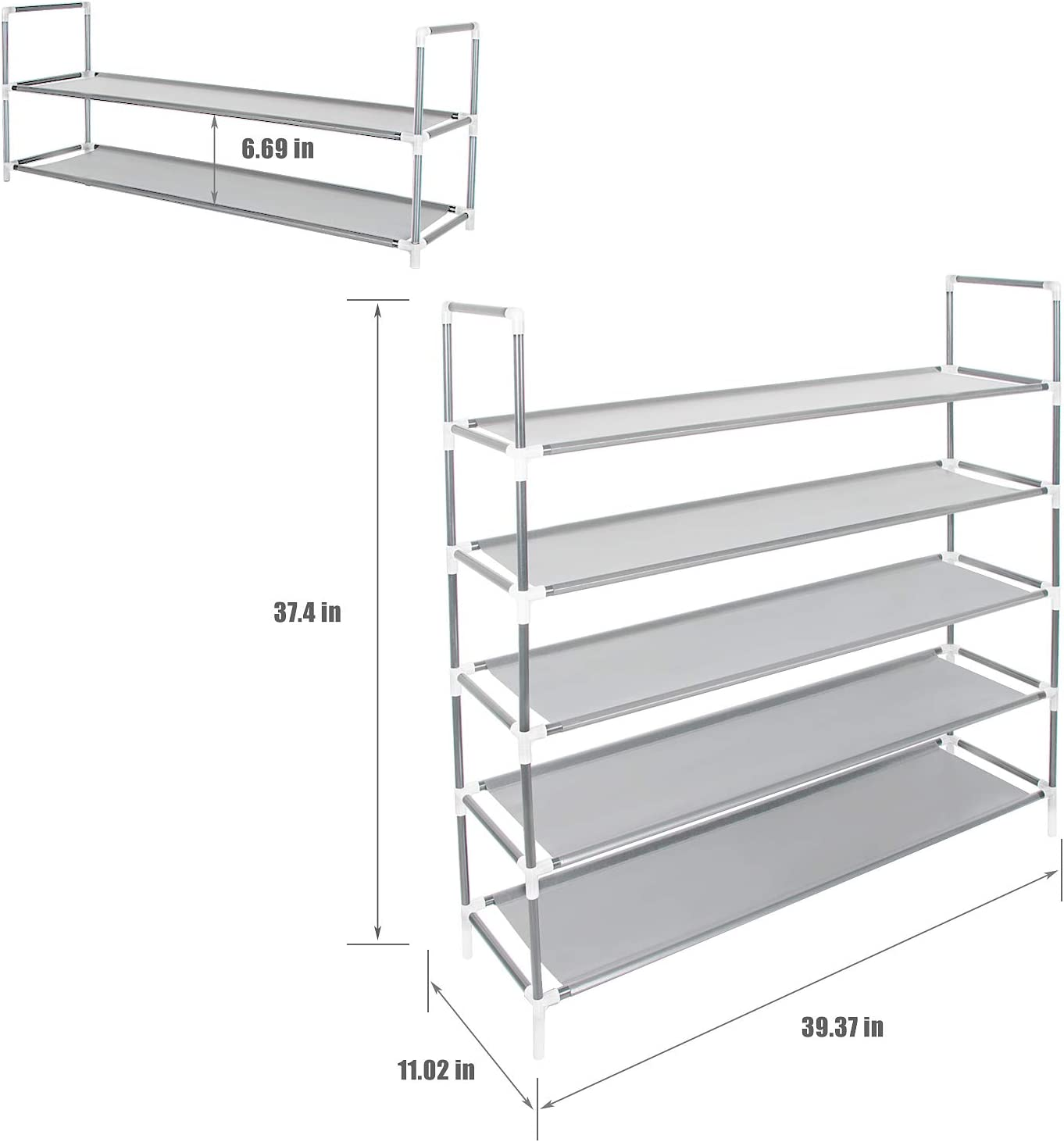 Space-Saving Shoes Cabinet Closet Organizer 39 L Holds 20-25 Pair of Shoes Grey Azadx 5 Tiers Shoe Rack Free Standing Non-Woven Fabric Shoe Tower Storage Organizer