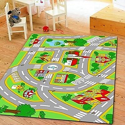 HUAHOO Kids' Rug With Roads Kids Rug play mat City Street Map Children Learning Carpet Play Carpet Kids Rugs Boy Girl Nursery Bedroom Playroom Classrooms Play Mat Children's Area Rug