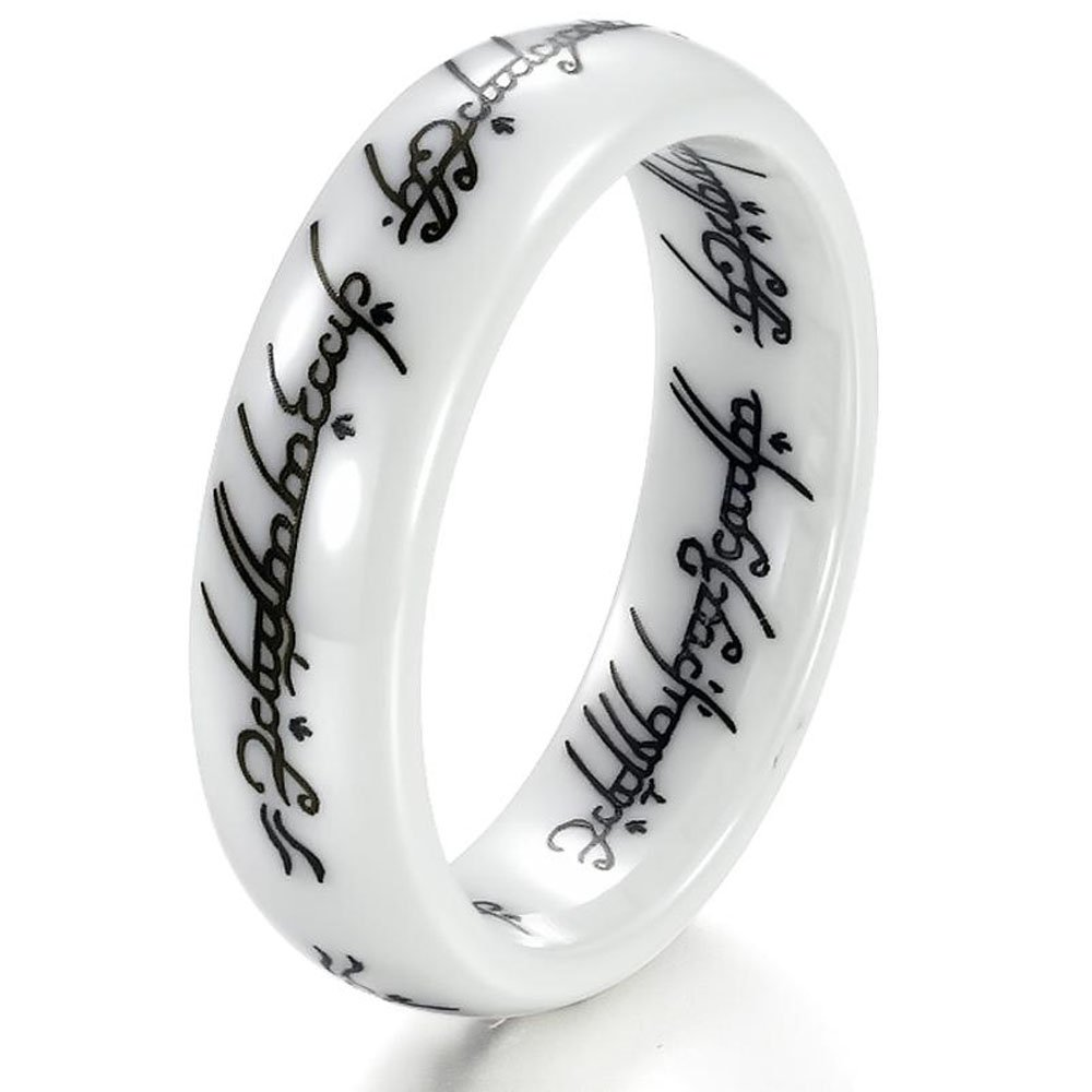 New Retro the Lord of the Rings White Ceramic Finger Band Words Top Quality 216 (10)