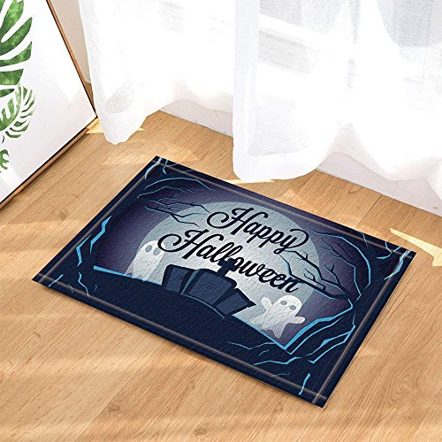 Lovedomi Happy Halloween Decor Cartoon Ghost on Tombstone in Forest Bath Rugs Non-Slip Doormat Floor Entryways Indoor Front Door Mat Kids Bath Mat 15.7x23.6in Bathroom Accessories -