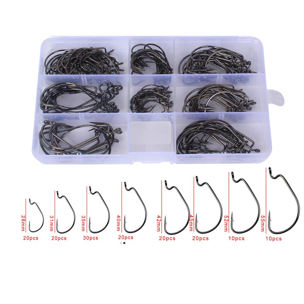 Anmuka 150pcs Fishing Worm Hooks High Carbon Steel Wide Gap Offset Fishing Hook Set for Saltwater and Freshwater with 8 Sizes