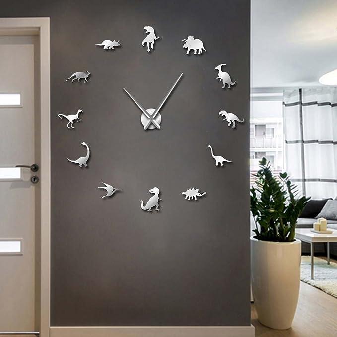 Easy Time Kids 3D Wall Clock Gray Dinosaur