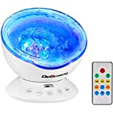 Delicacy Ocean Wave Projector 12 LED Remote Control Undersea Projector Lamp,7 Color Changing Music Player Night Light Projector for Kids Adults Bedroom Living Room Decoration