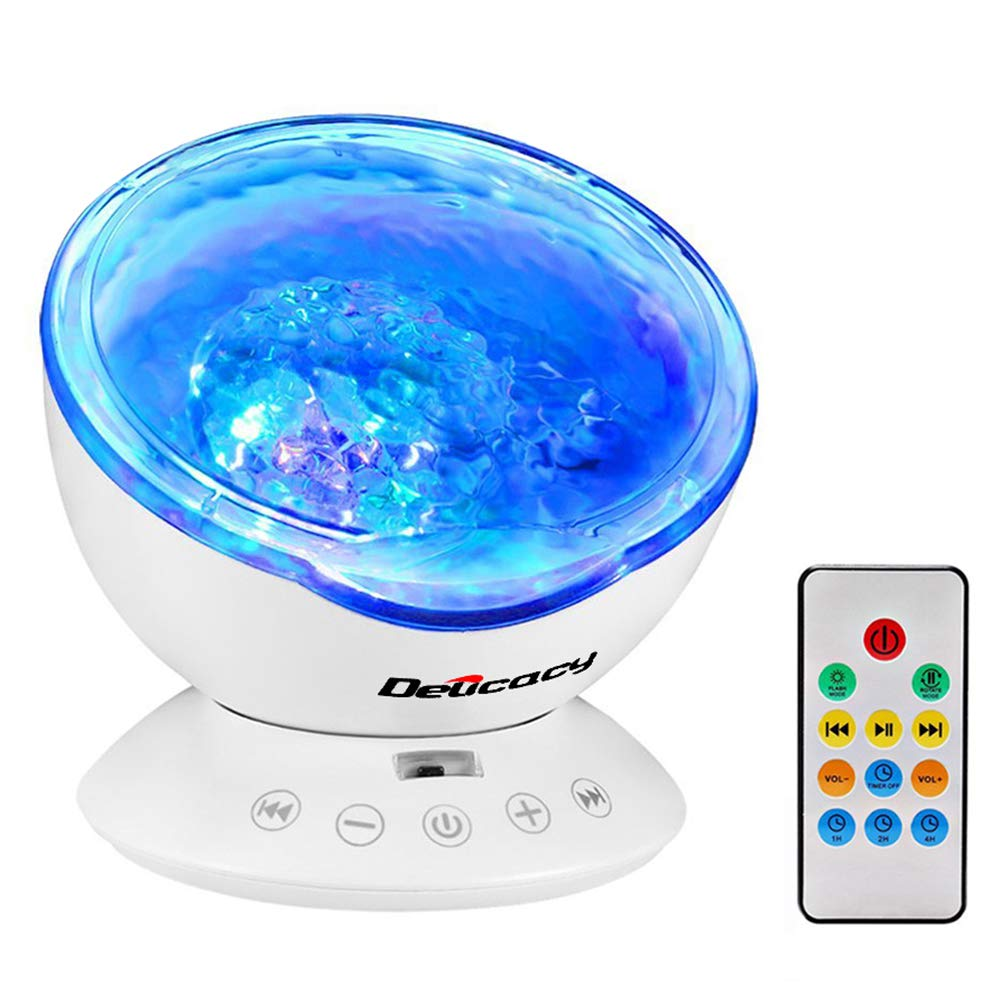 Delicacy Ocean Wave Projector 12 LED Remote Control Undersea Projector Lamp,7 Color Changing Music Player Night Light Projector for Kids Adults Bedroom Living Room Decoration by Delicacy