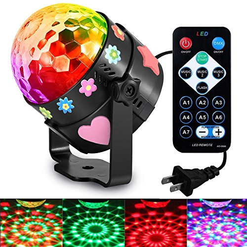 Price comparison product image Party Kids Lights led 3nd Generation Supplies Sound Activated 7 Color Led Disco Ball Lamp Stage Dj Lighting Baby Night Light for Bedroom Kids Birthday Gift Toys Mood Club Wedding Celebration Karaoke