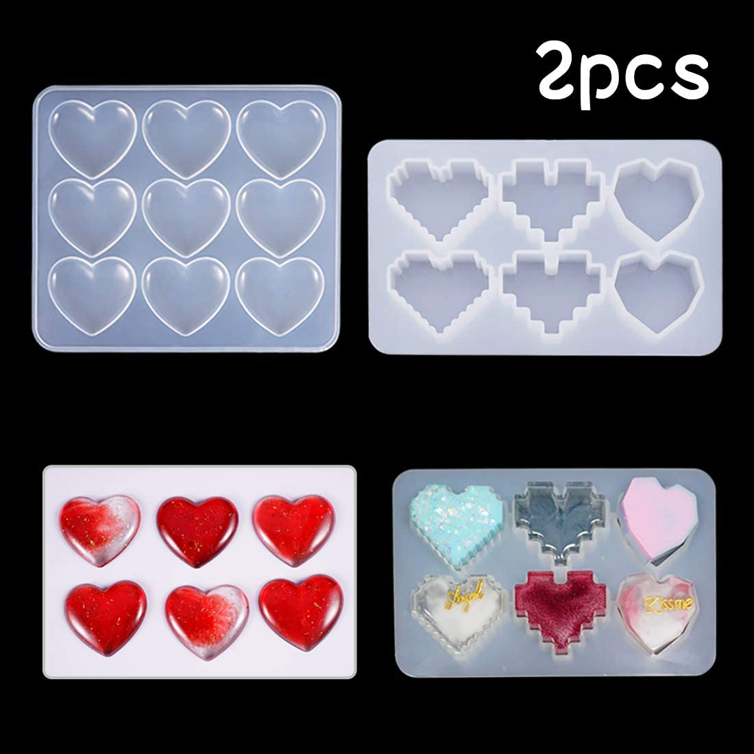 Heart Shape Silicone Mold 9-Cavity Clear Shiny DIY Resin Puffy Epoxy Jewelry