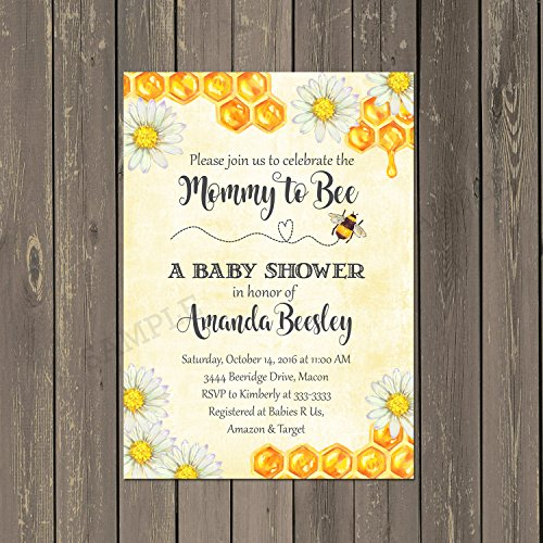 Invitations Shower Daisy Baby (Bumblebee Bee Baby Shower Invitations with Daisies in Yellow and Black, Set of 10 printed 5x7