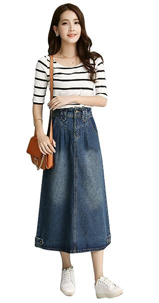 9b6d12d232 TOPJIN Women's Long A Line High Waist Button Denim Skirts Midi Jeans Dress  Dark Blue S