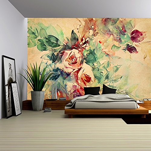 Roses Painted on Beige Tone Paper - Removable Wall Mural | Self-adhesive Large Wallpaper - 100x144 inches (Rose Mural)
