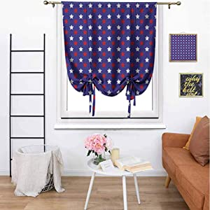 """MartinDecor USA Roman Curtain Tie Up Window United States of America Theme Federal Holiday Celebration Revolution Design Room Darkening Thermal Insulated for Bedroom, 29""""x72"""" Dark Blue Red White"""