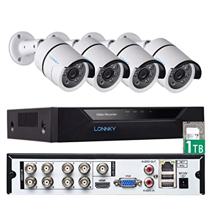 LONNKY 8CH Full HD 1080P DVR Kits Surveillance Security Camera System with  4Pcs Waterproof Outdoor Bullet Cameras, Night Vision,Support Intelligent