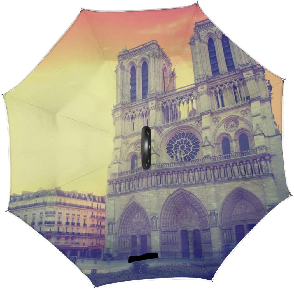 Double Layer Inverted Inverted Umbrella Is Light And Sturdy Sunset Notre Dame De Paris France Reverse Umbrella And Windproof Umbrella Edge Night Refl