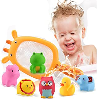 Lalang Baby Bathtime Fishing Floating Animals Toys Giraffe Fishing Net and Squirty Bath Toys Set