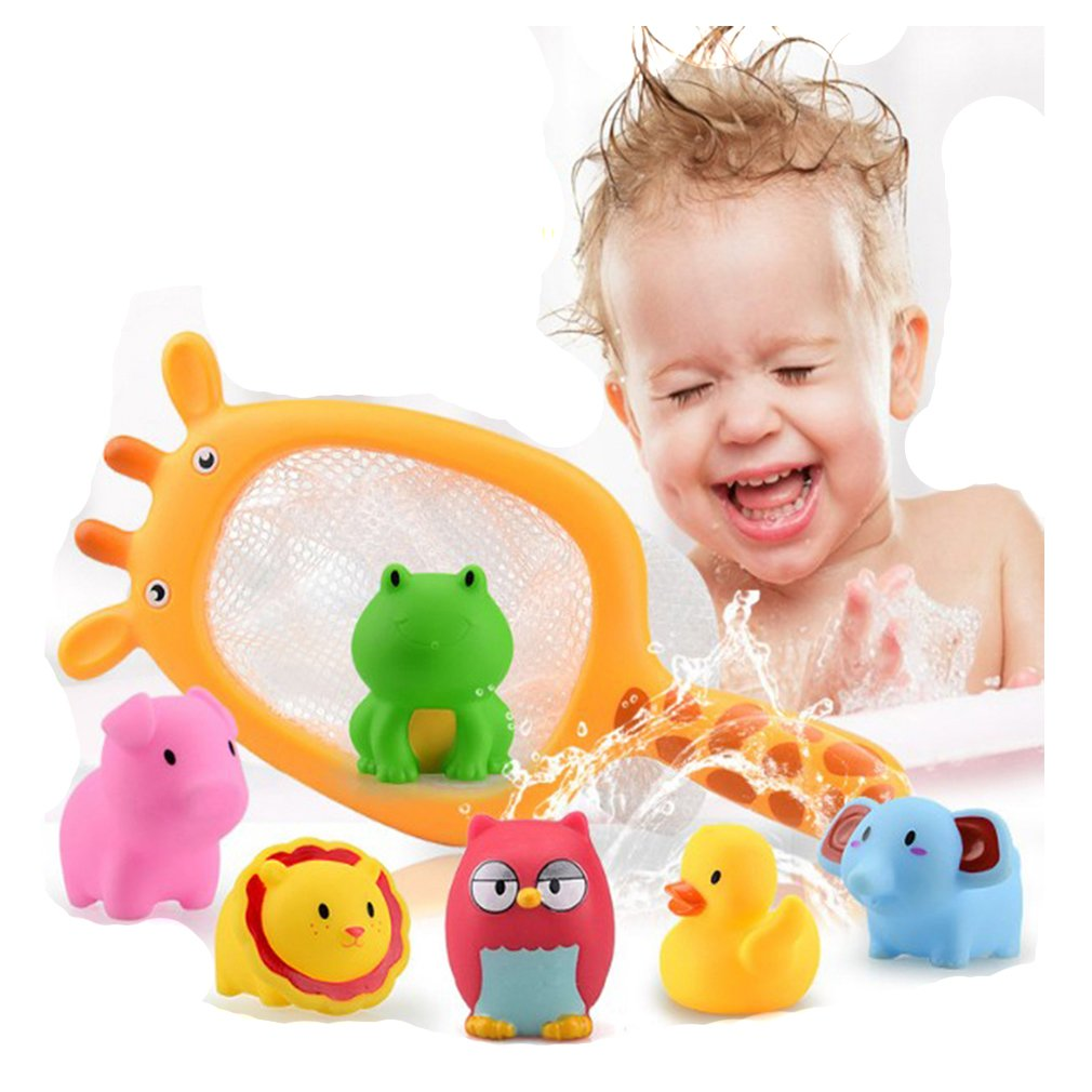 Lalang Baby Bathtime Fishing Floating Animals Toys Giraffe Fishing Net and Squirty Bath Toys Set 88_Store