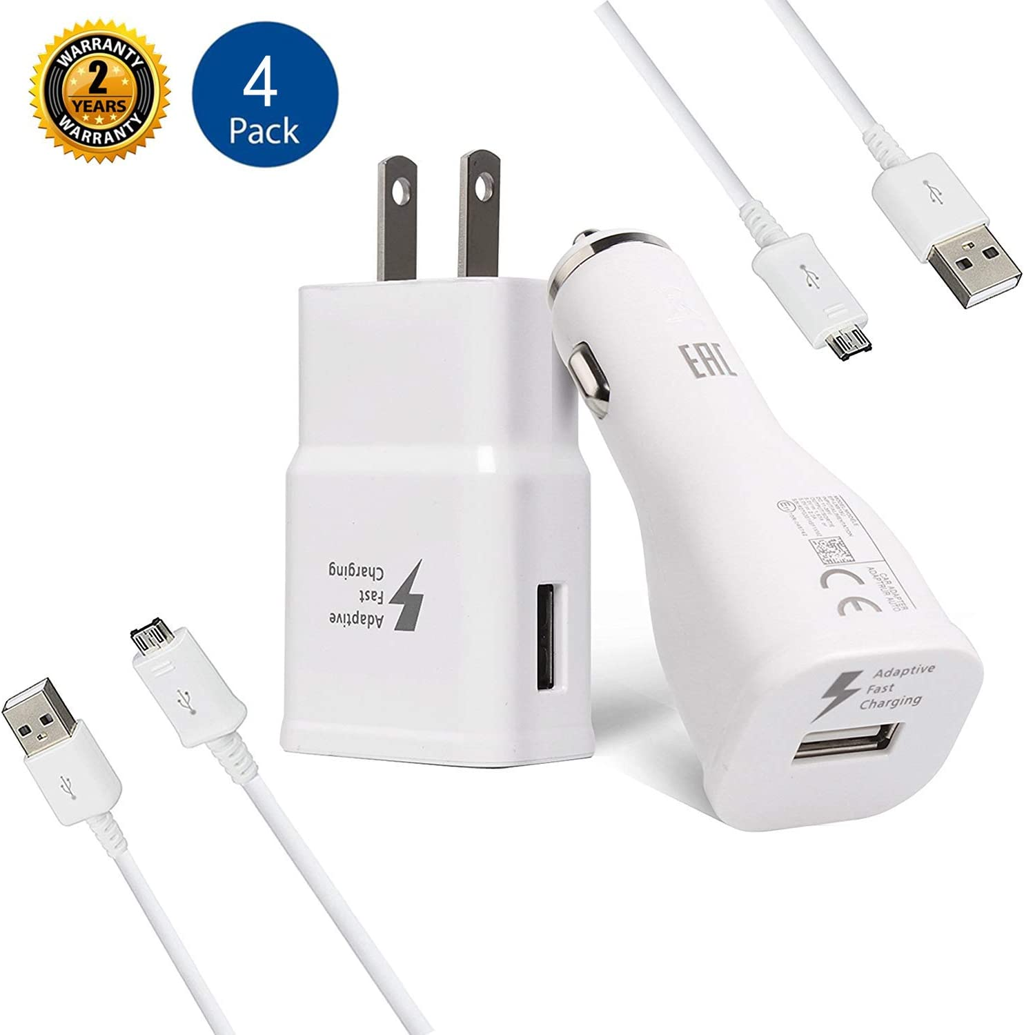 Samsung Adaptive Fast Charger Kit-LaoFas Fast Charging Adapter Travel Charger Compatible with Samsung Galaxy S7 Edge / S6 / Note5 / Note 4/ S3 (Wall Charger + Car Charger + 2 x Micro USB Cable)(White)