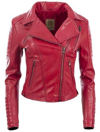 f1e805bf24c6d Aviatrix Veste Mode Femme en Cuir Veritable avec Fermeture A glissiere  Asymetrique (K014): Amazon.fr: Vêtements et accessoires
