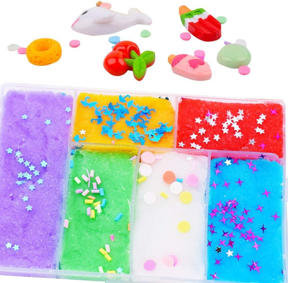 SWZY Slime Kit,Fluffy Slime,Super Soft and Non-Sticky,Bricolage Slime Enfants Jouet Cadeaux Scented Mud Stress Relief Sludge Toys Raisins//Avocat//past/èque.....5pcs