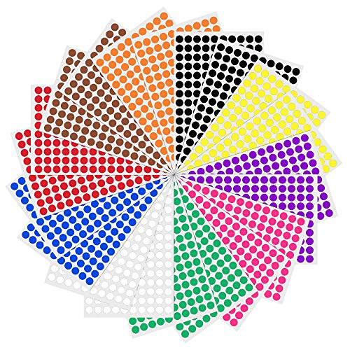 Color Dot Stickers (3000 Pack, 0.375