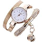 Fulltime Femmes fines bandes encerclant en cuir strass analogiques montres à quartz