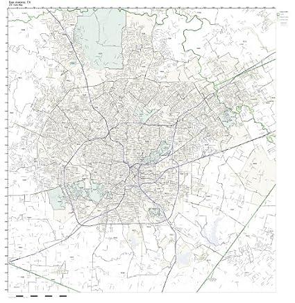Amazon.com: ZIP Code Wall Map of San Antonio, TX ZIP Code Map ...