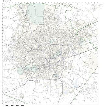 Amazoncom ZIP Code Wall Map Of San Antonio TX ZIP Code Map - Us zip code specification map
