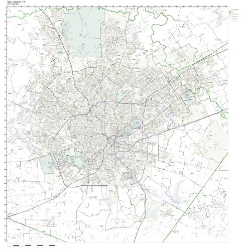 Amazon.com: ZIP Code Wall Map of San Antonio, TX ZIP Code Map ...