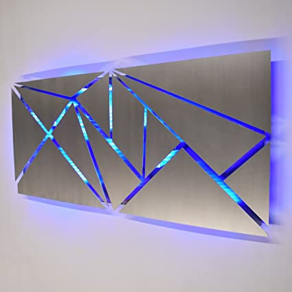 DV8Studio LED Lighted Geometric Silver Metal Wall Art Fracture Sculpture  Color Changing Light