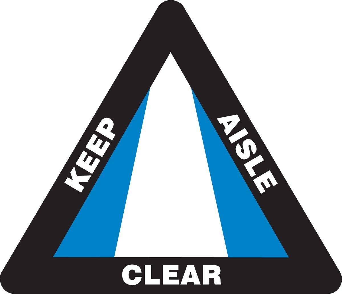 Accuform PSR823 Slip-Gard Adhesive Vinyl Triangle Shape Floor Sign, Legend''KEEP AISLE CLEAR'', 15'' Length x 17'' Width, Blue/Black/White