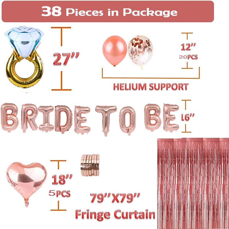 Rose Gold Balloons Confetti Balloons 33Inch Engagement Ring Balloon Foil Curtains Heart Balloon Bachelorette Party Decorations 38 PCS Bridal Shower Decorations Bride To Be Foil Balloon Banner