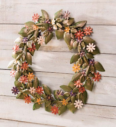 Handmade Recycled Metal Floral Wreath