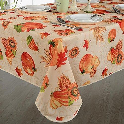 HomeCrate European Polyester Tablecloths - Fall Harvest Pumpkins Corn Autumn Leaves Sunflowers Print-Ivory 60