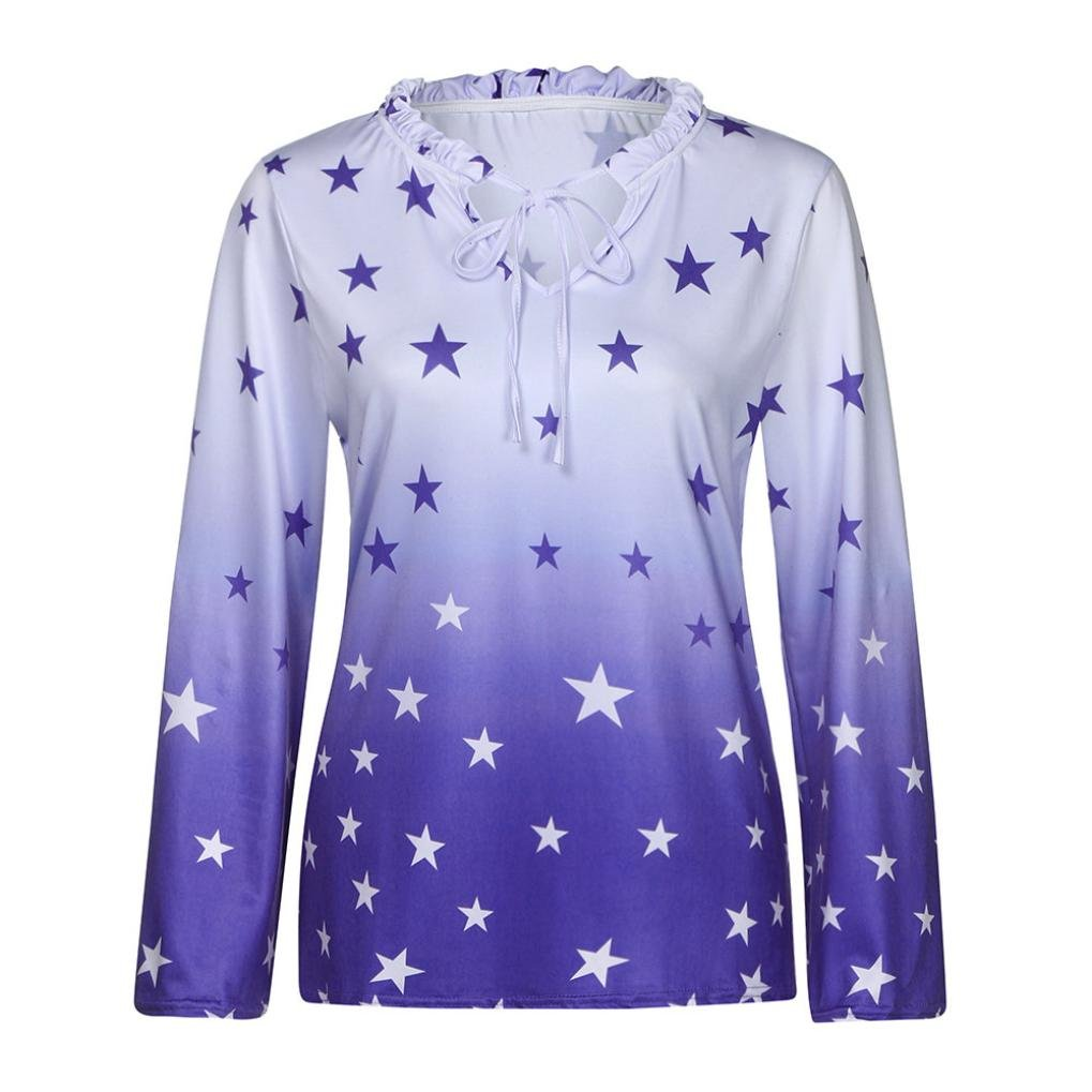 KaiCran Women Long Sleeve O Neck Letter Print Tops For Lady Casual T-Shirt Blouse (Blue, XXXXLarge)