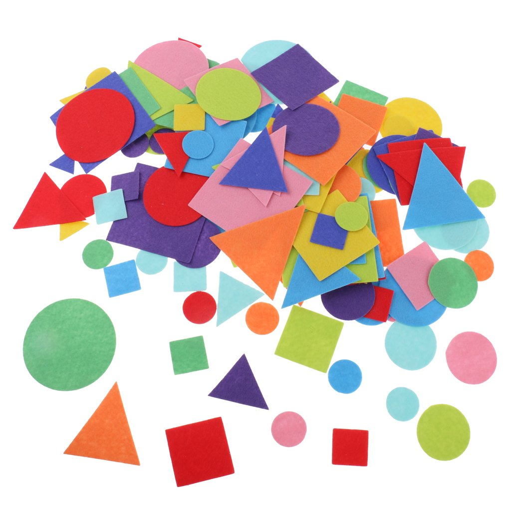 kesoto 150 Pieces Assorted Die Cut Felt Appliques Shapes and Colors Geometric Fabric Patches for Scrapbooking Card Making Decoration for Kids Craft Toddlers