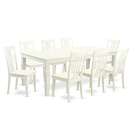 East West Furniture LGLG9 LWH W 9Piece Table Set With One Logan Dining Room