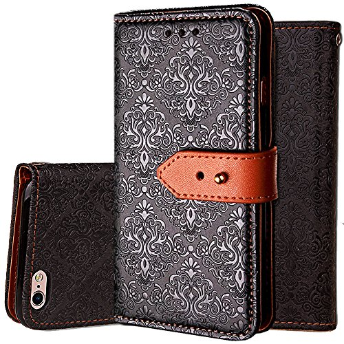 iphone 6S Wallet Case,Auker Flip Folio Vintage Leather Book Style Stand Case Full Body Protection Retro Purse Cover with Card Holders&Hidden Cash Pocket for Women/Men for iphone 6/6s 4.7 Inch (Black)