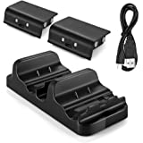 Xbox One Battery Charging Dock, Dual Charger Station with 2 Rechargeable Batteries and USB Cable For Xbox One One S Newest One X Xbox One Elite Controllers