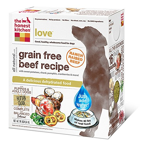 The Honest Kitchen Love Grain Free Dog Food - Natural Human Grade Dehydrated Dog Food, Beef, 10 lbs (Makes 40 lbs)