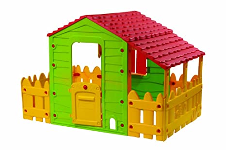 Casita infantil en PVC Fun con Terraza y pérgola - 193 x 118 x 127 cm