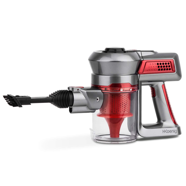 sin cables 100 W H.KOENIG UP560 Aspirador de mano sin bolsa compacto y ligero dos velocidades color rojo. Accesorios incluidos: soporte de pared cepillo redondo y boquilla plana