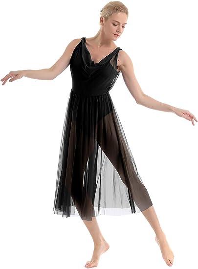 Women Sleeveless Ballet Dance Leotard Asymmetric Mesh Skirt Gymnastics Dancewear
