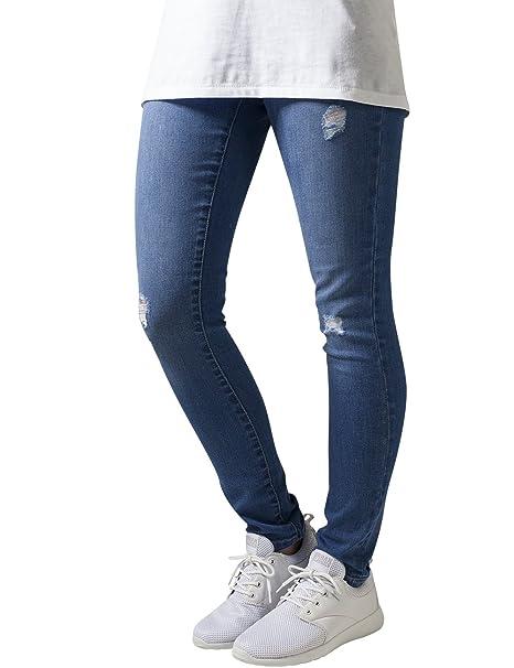 Urban Classics Ladies Ripped Denim Pants, Jeans para Mujer, Azul (Darkblue), 30W x 32L