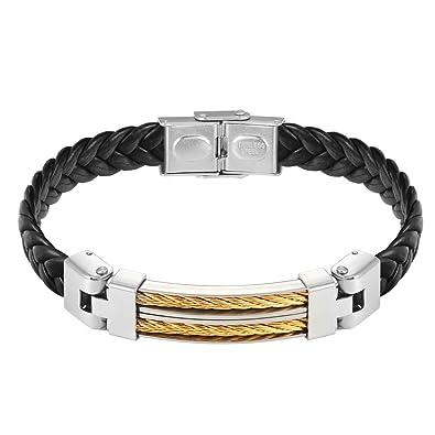 d72500b6ed3 PROSTEEL Bracelet Tressé en Cuir Véritable avec Fil d acier Plaqué Or  Fermoir Métallique Bijoux