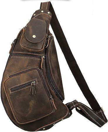 Sling Bag Retro Casual Mens Chest Bag Zipper Leather Messenger Bag Shoulder Bag for Travel Hiking Working School Business Cycling Color : Retro Brown