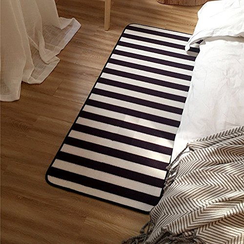 Ukeler Modern Black and White Stripes Rugs for Kids Play Non-skid Floral Home Decor Rugs (31.5''x74.8'', Stripe) (Rug Stripes Kids)