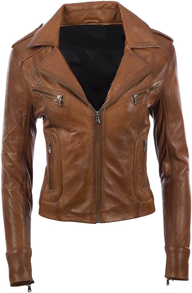 Aviatrix (N8UL) - Chaqueta de motociclista de piel auténtica para mujer