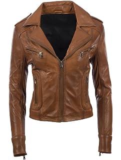 24f246496c266 PAUL BERMAN Ladies Real Leather Biker Jacket Black  Amazon.co.uk ...