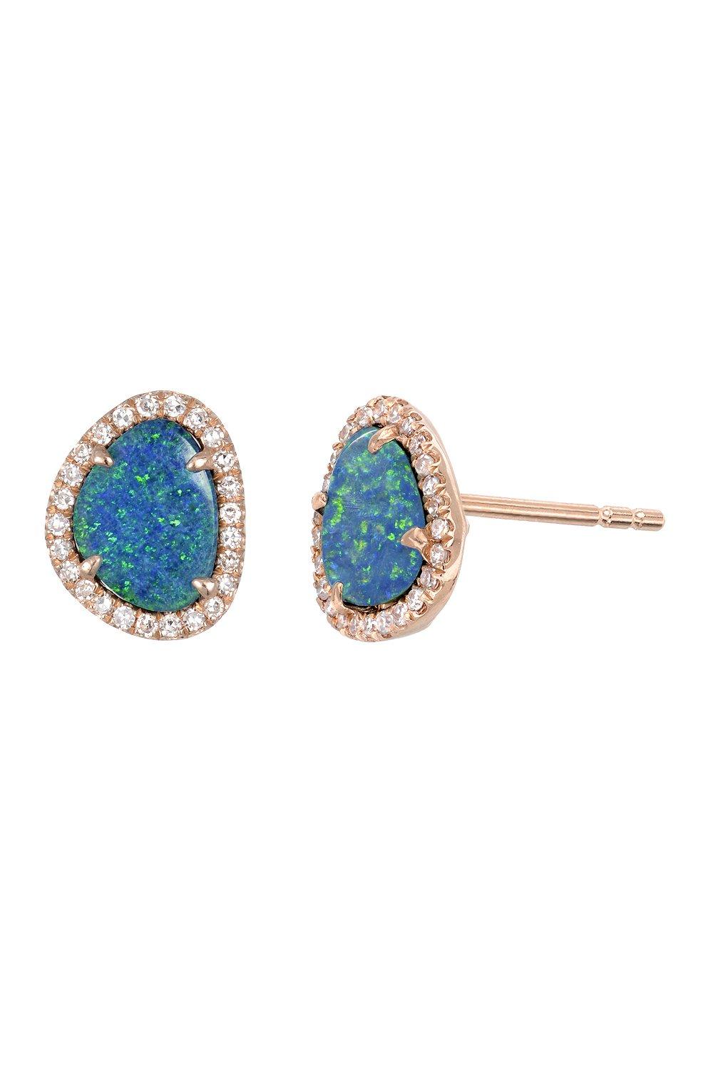 Diamond opal stud earrings, Zoe Lev Jewelry