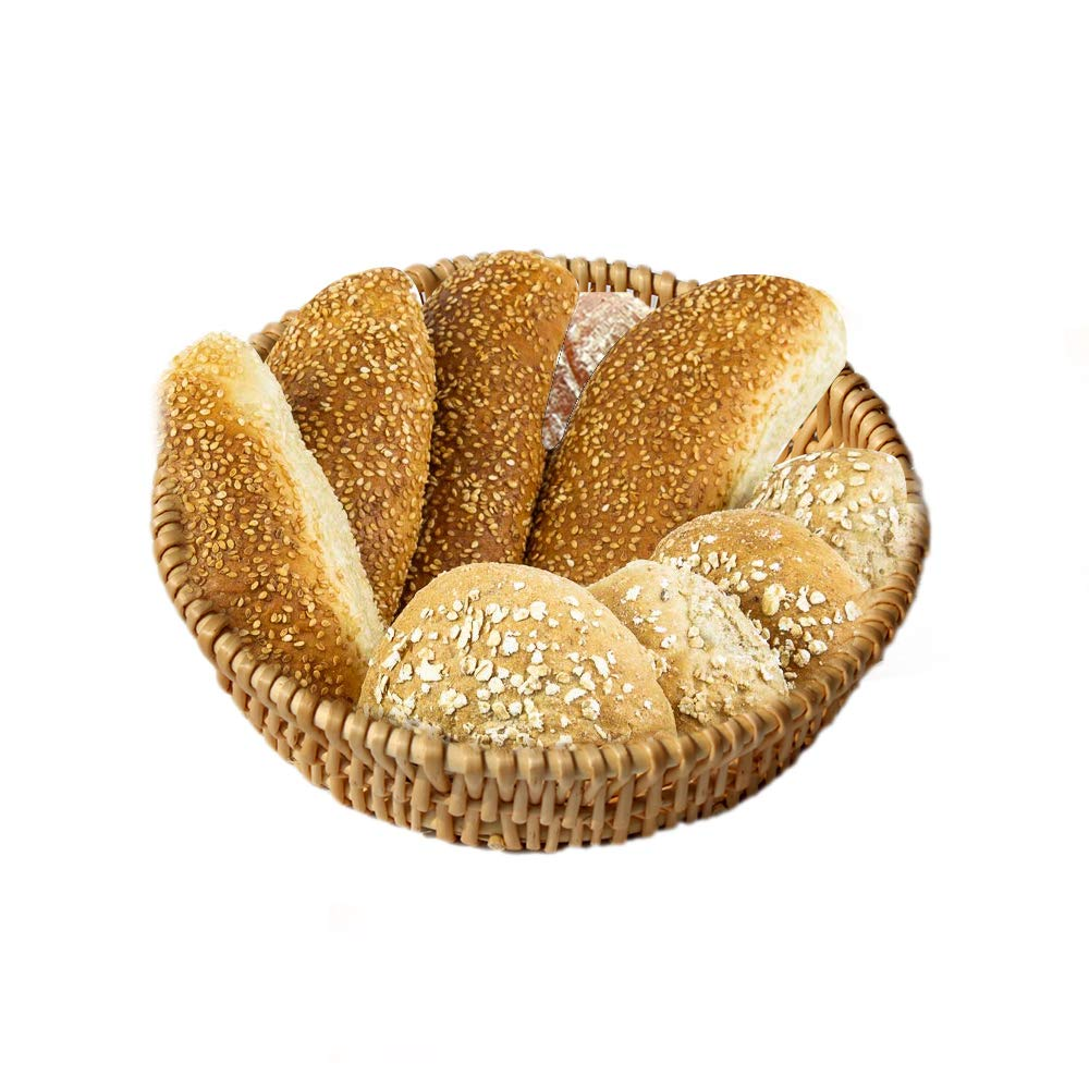 Round Wicker Basket Fruit Bread Tray Storage Basket Willow Handwoven Basket,Natural Color